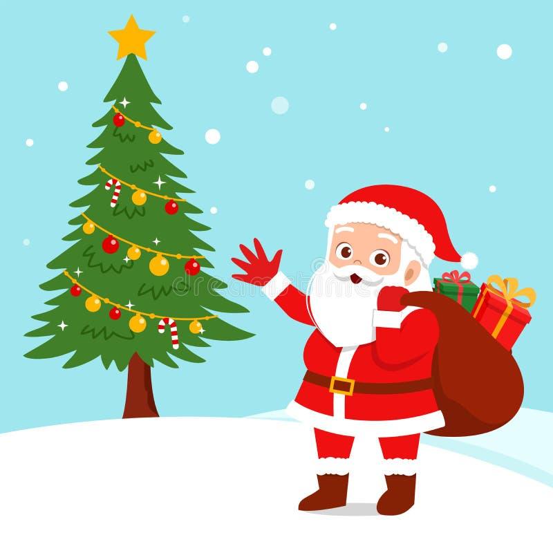 happy santa clause christmas gift royalty free illustration