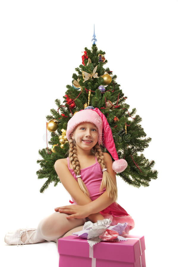 Download Happy Santa girl stock image. Image of present, helper - 11122845