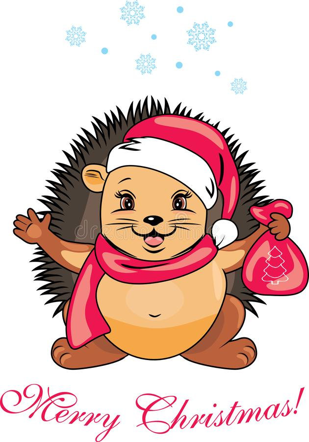Happy Santa hedgehog with a christmas gift royalty free stock images