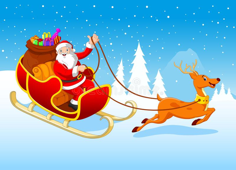 Happy Santa in his sled pulled by reindeer stock illustration