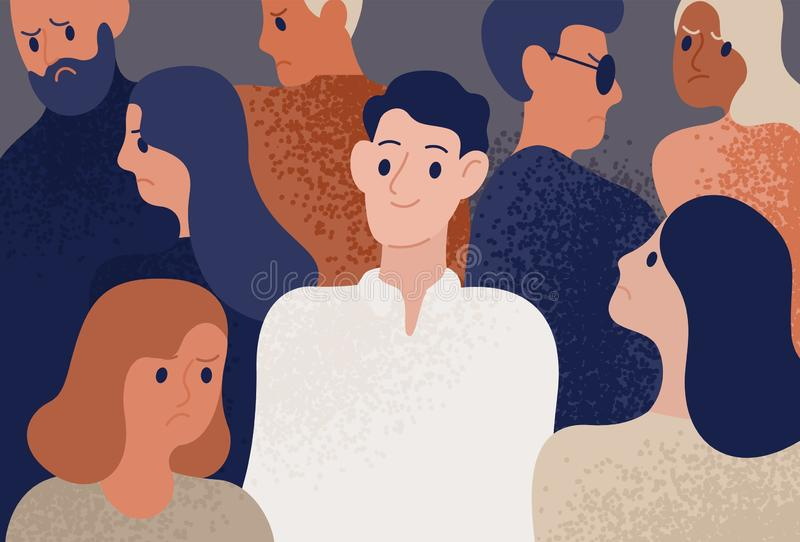 Happy and satisfied young man surrounded by depressed, unhappy, sad and angry people. Smiling person in crowd. Funny royalty free illustration