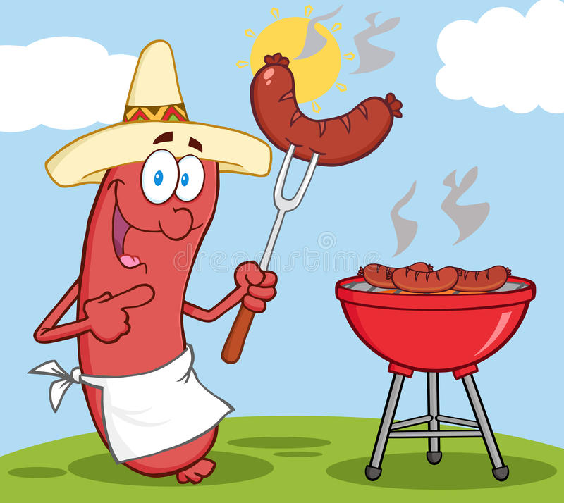 Happy Sausage With Mexican Hat. Cook At Barbecue With Background vector illustration