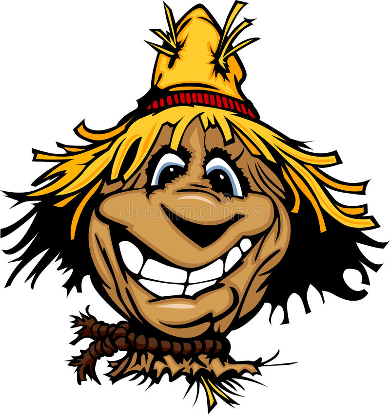 Free Happy Scarecrow Face With Straw Hat Stock Image - 23698271