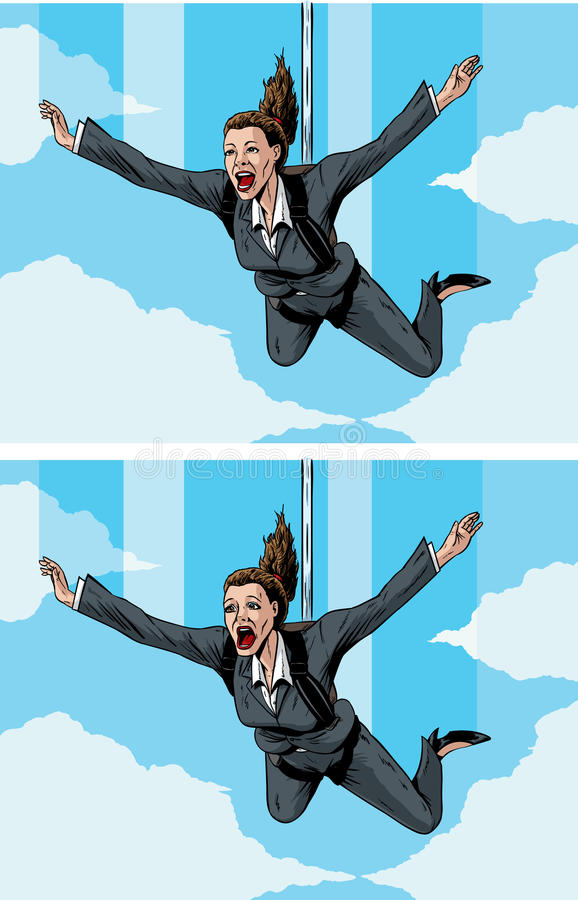 Happy/scared businessmwoman vector illustration