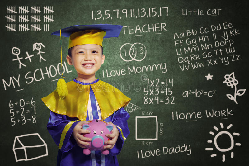 Download Happy Scholar Dressed Toddler With Piggybank Stock Illustration - Image: 30761497