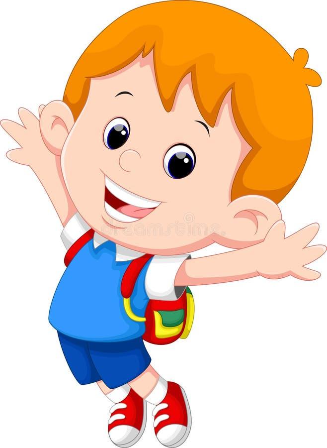 Happy school boy cartoon vector illustration