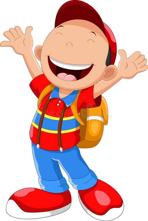 Happy school boy cartoon stock illustration