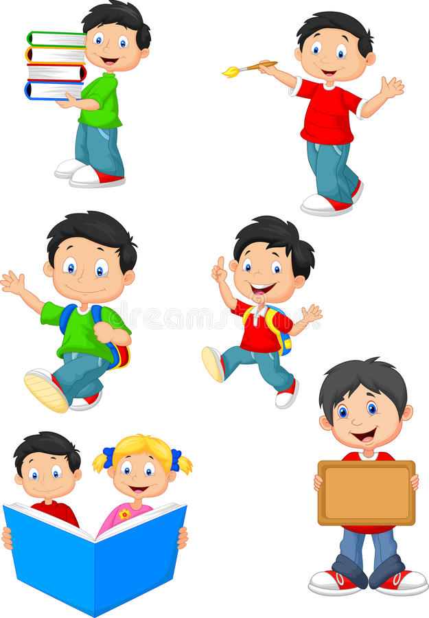 Happy school children cartoon collection set royalty free illustration