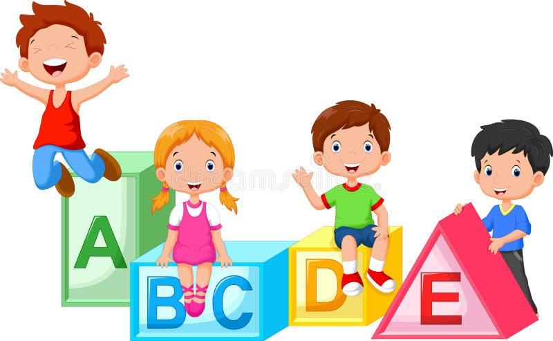 Happy school children playing with alphabet blocks royalty free illustration