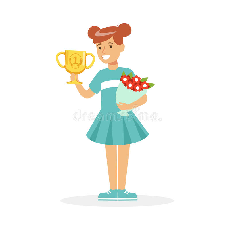 Happy school girl holding winner cup and bouquet of flowers, kid celebrating her victory cartoon vector Illustration. On a white background stock illustration