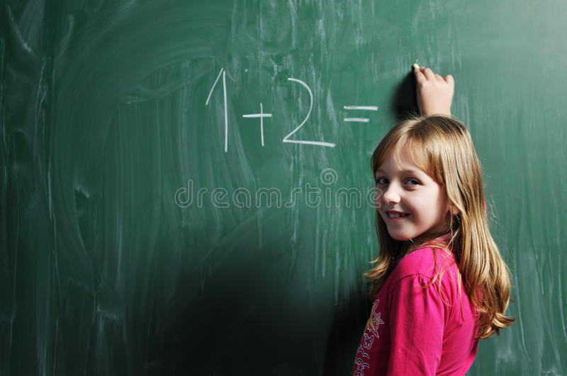 Download Happy School Girl On Math Classes Stock Image - Image: 11836025