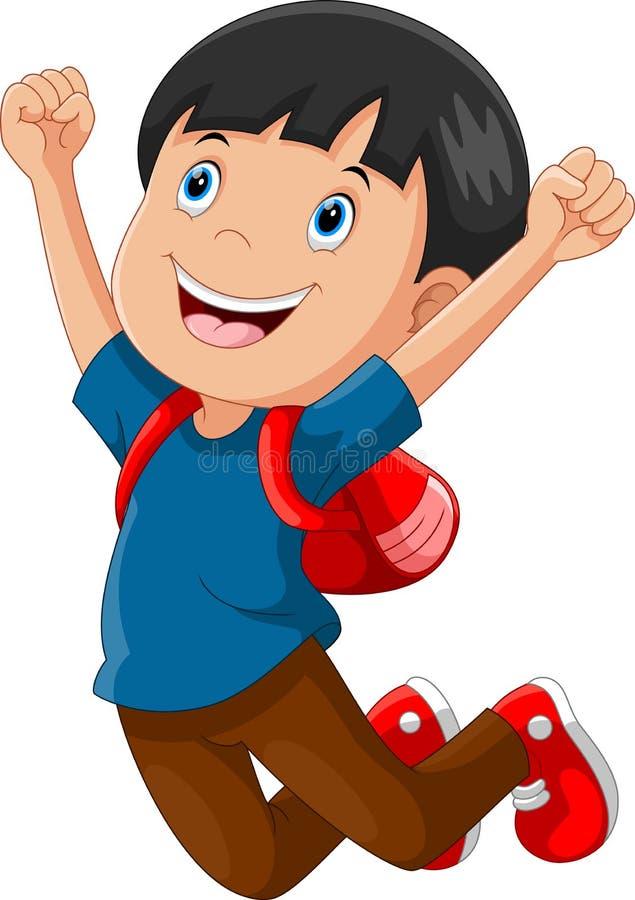 Happy schoolboy cartoon jumping royalty free illustration