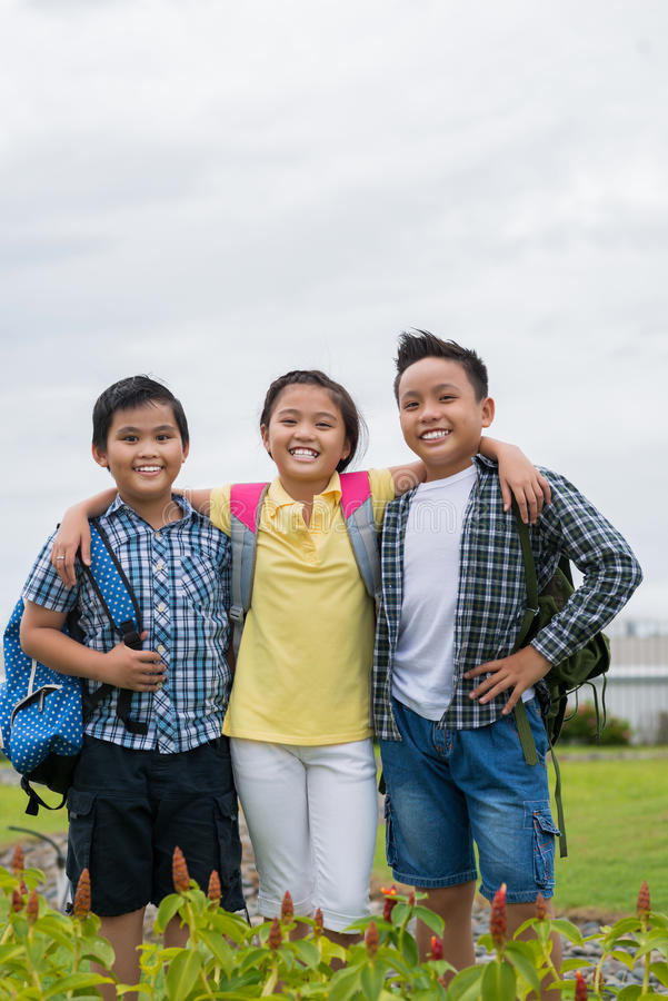 Happy schoolchildren stock photos