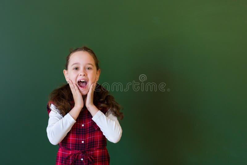 Happy schoolgirl preschool girl in plaid dress standing in class near a green blackboard. Concept of school education royalty free stock images