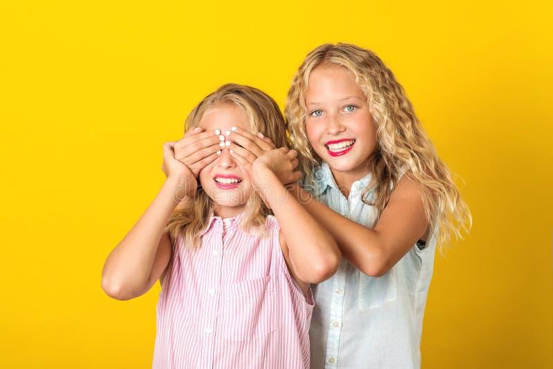 Happy Schwestern Zwillinge lächeln und Spaß haben Sommermode Schöne Mädchen Freunde posieren auf gelbem Hintergrund stockfotos