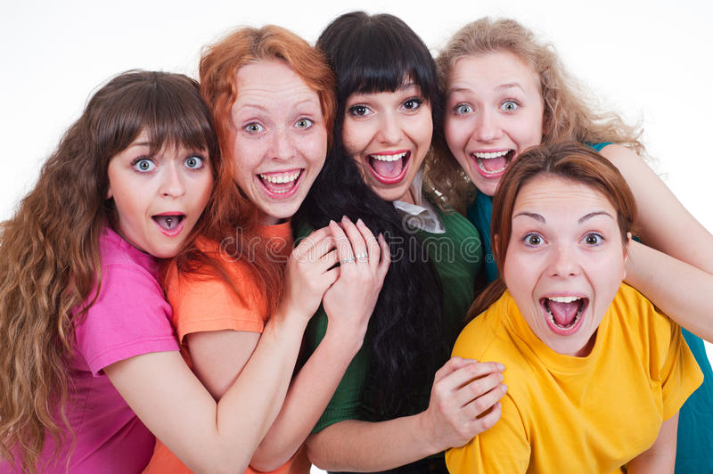 Download Happy screaming girls stock photo. Image of bright, looking - 14769472