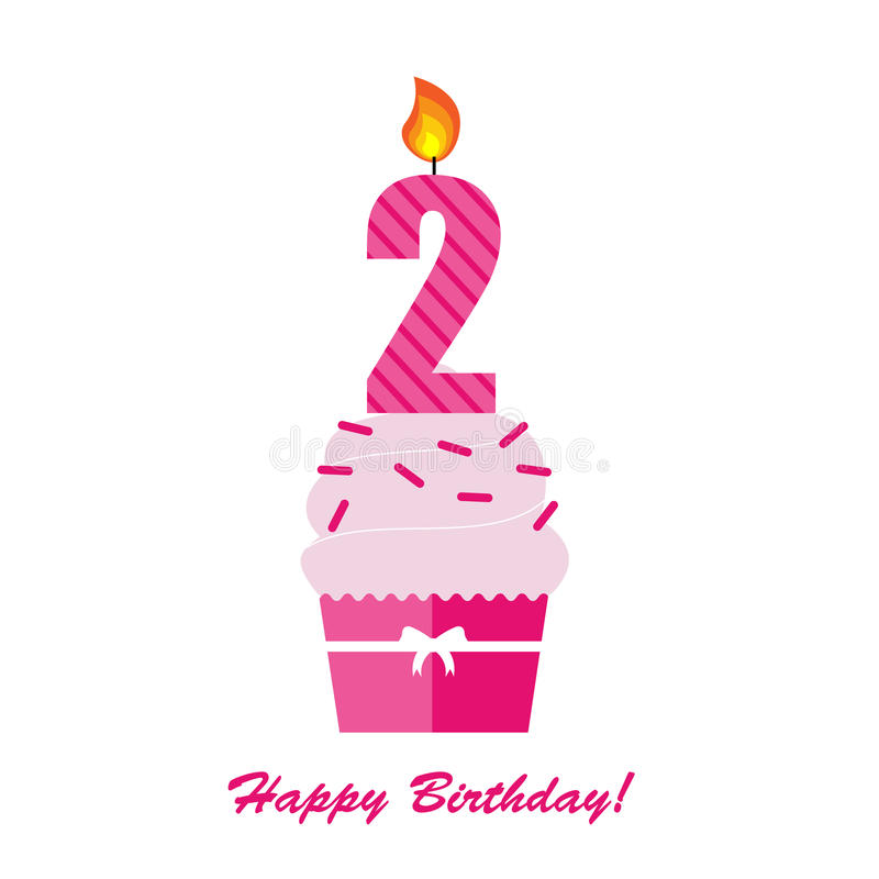 Happy Second Birthday Anniversary Card Stock Vector