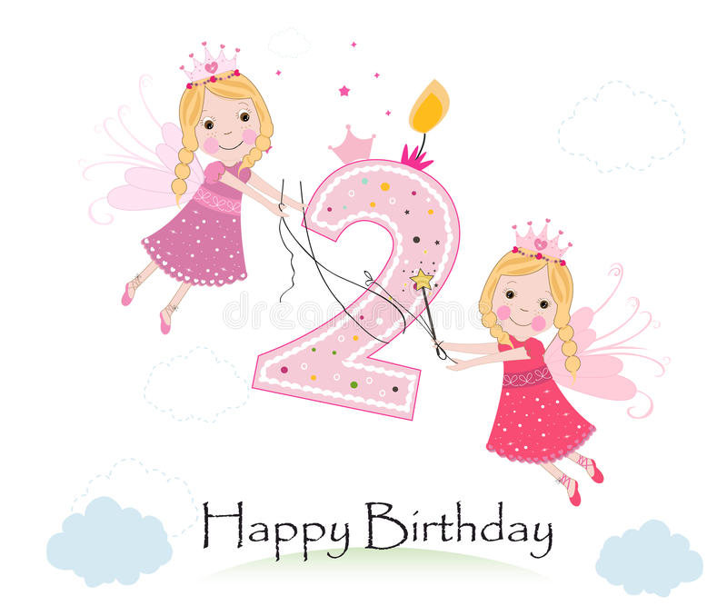 Happy second birthday with cute fairy tale greeting card vector. Happy second birthday with cute fairy tale greeting card royalty free illustration