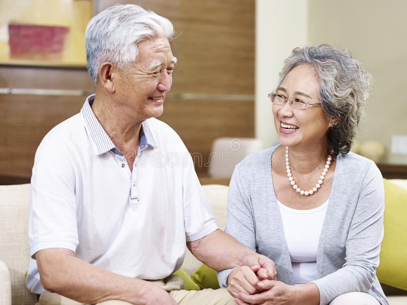 Happy senior asian couple royalty free stock photography