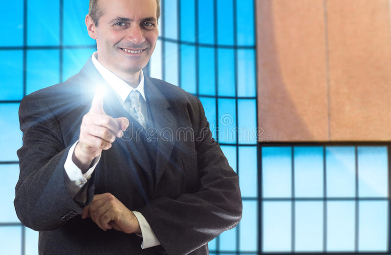 Happy senior business man smiling stock photo