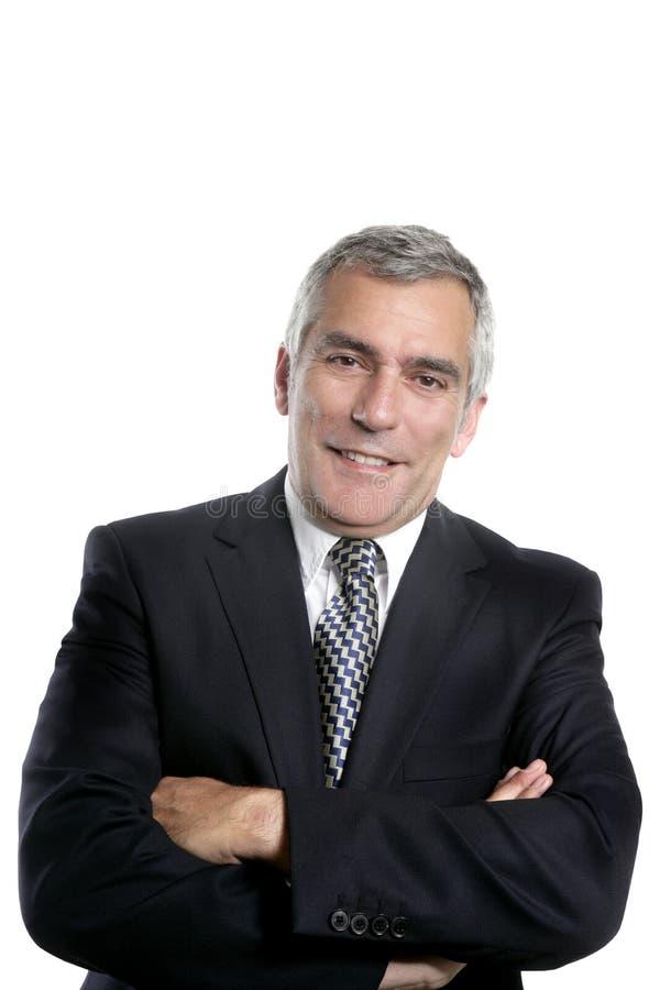 Happy senior businessman smiling gray hair royalty free stock photography