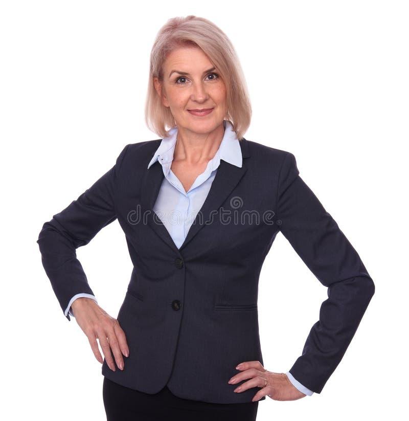 Happy senior businesswoman isolated stock images