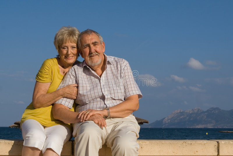 Happy senior couple. Happy seniors, senior couple on vacation stock images
