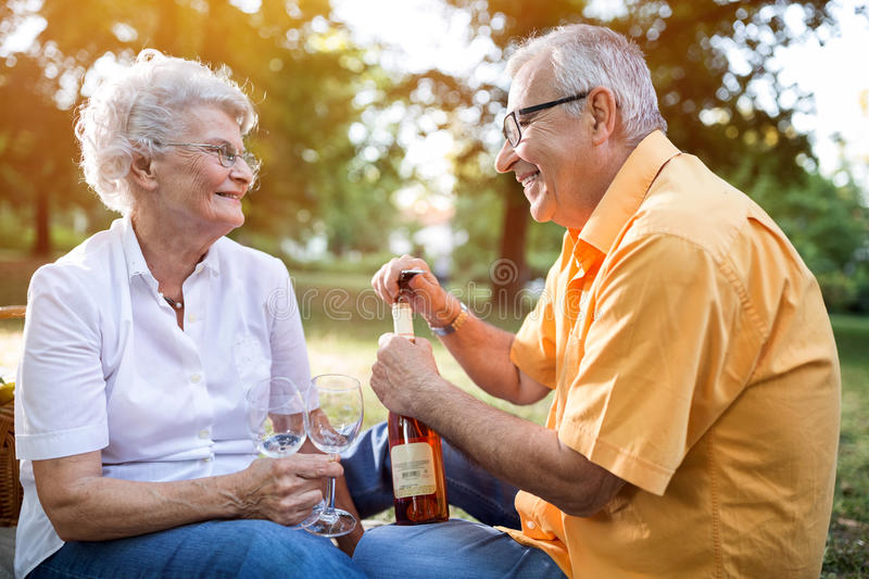 Happy senior couple celebrates anniversary in park. Happy and lovely senior couple celebrates anniversary in park royalty free stock image