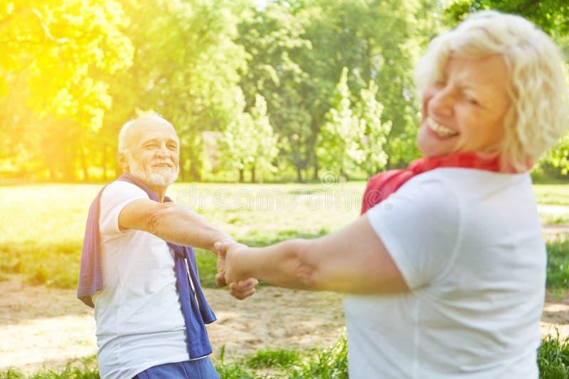 Happy senior couple dancing in a garden stock images