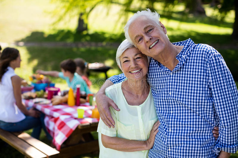 Happy senior couple embracing in park royalty free stock image