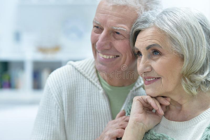 Happy senior couple at home stock images