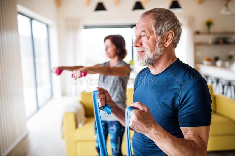 A senior couple indoors at home, doing exercise indoors. royalty free stock image
