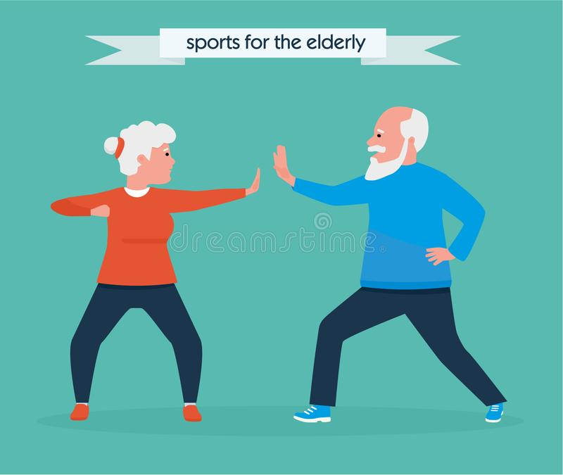 Happy senior couple jogging together in the park. Vector illustration. Healthy lifestyle concept. Active sport concept. Happy senior couple jogging together in royalty free illustration