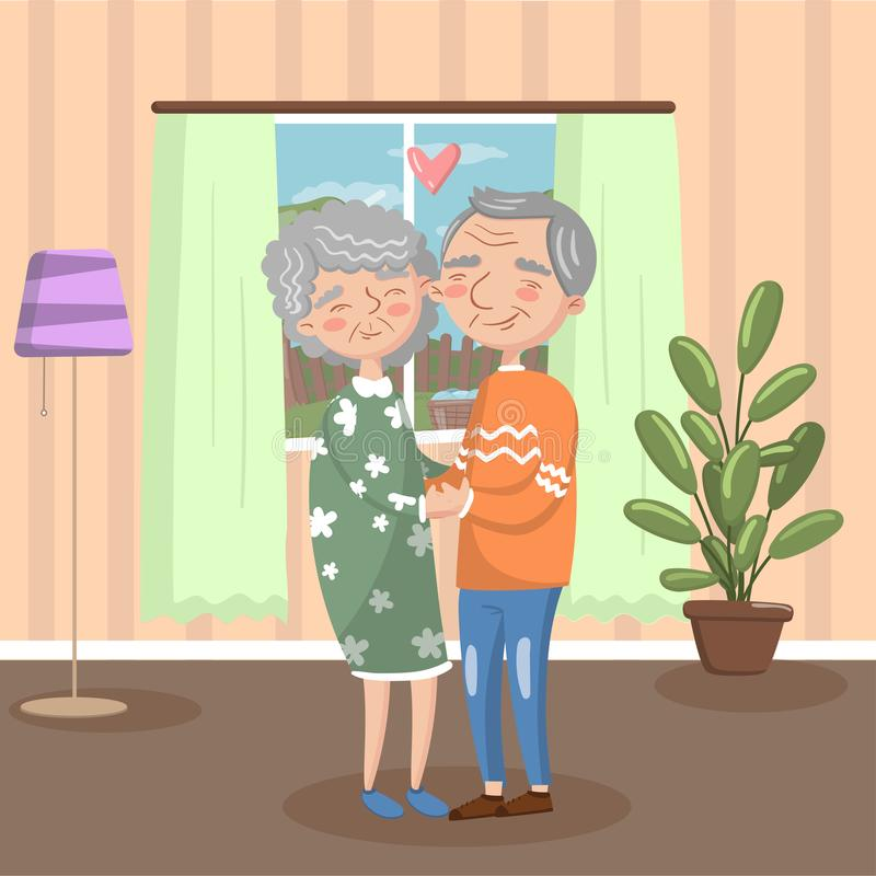 Happy senior couple in love holding each other hands at home, vintage cozy interior vector Illustration vector illustration