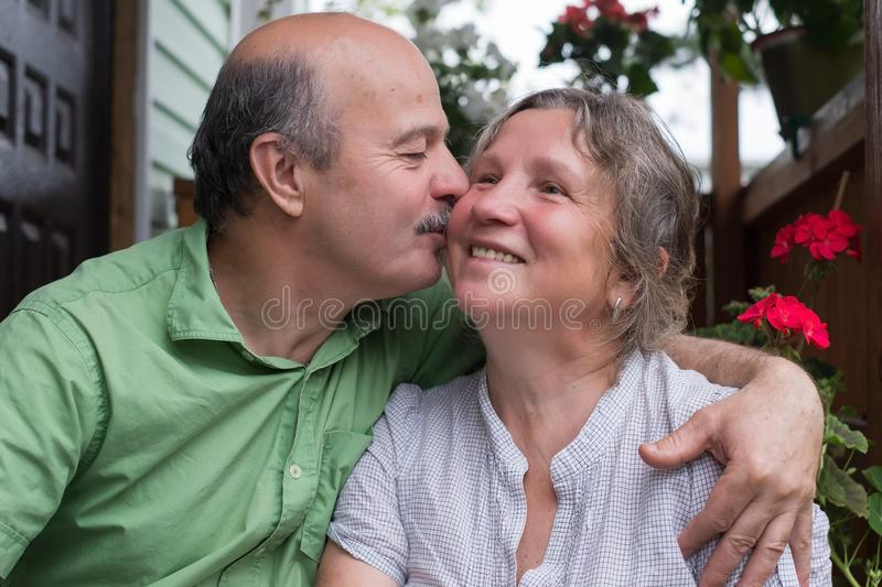 Happy senior couple in love. Park outdoors. royalty free stock images