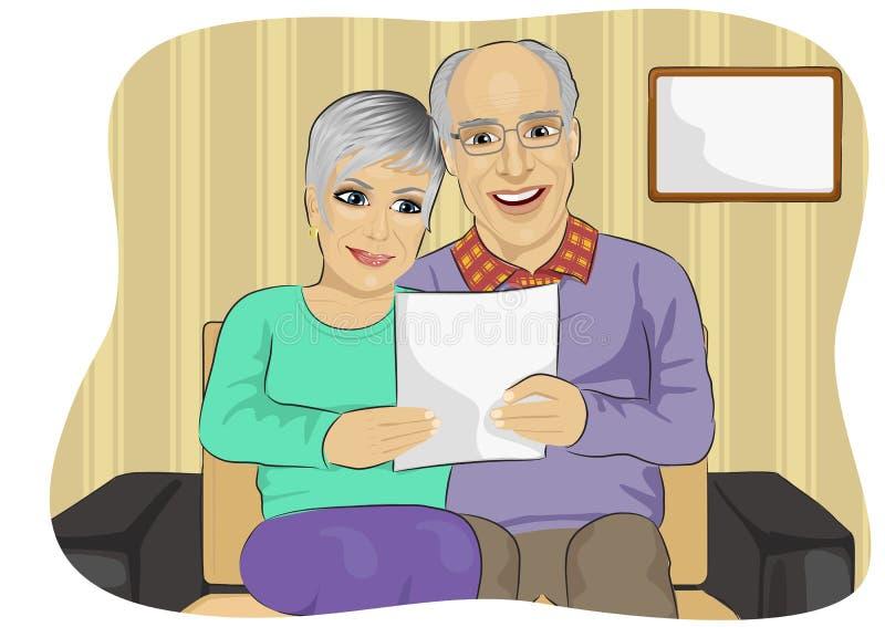 Happy senior couple reading letter together royalty free illustration