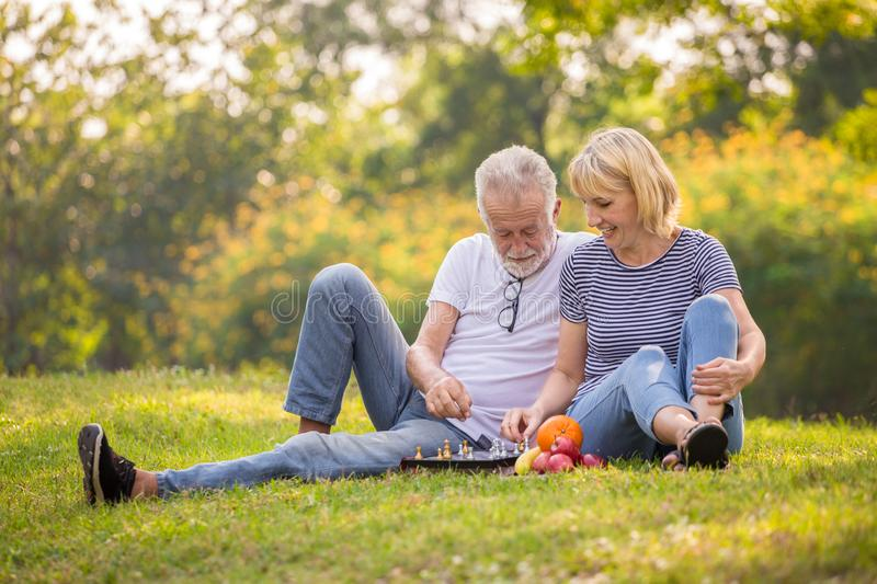 Happy senior couple relaxing in park playing chess together . old people sitting on grass in the summer park . Elderly resting . royalty free stock images