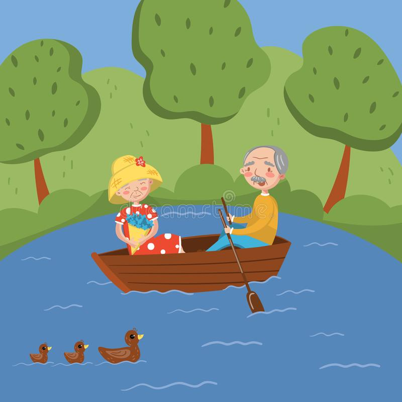 Happy senior couple rowing a boat on lake vector Illustration royalty free illustration