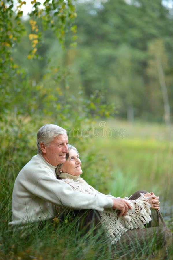 Portrait of happy senior couple sitting by pond stock image