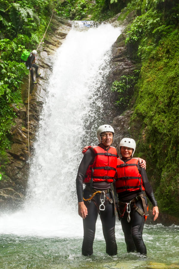 Happy Senior Couple South America Trip. Seniors Couple Posing During A Canyoning Trip royalty free stock photography