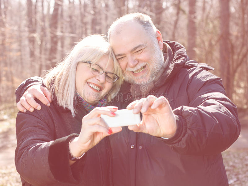 Happy Senior Elderly Couple Old People Selfie stock image