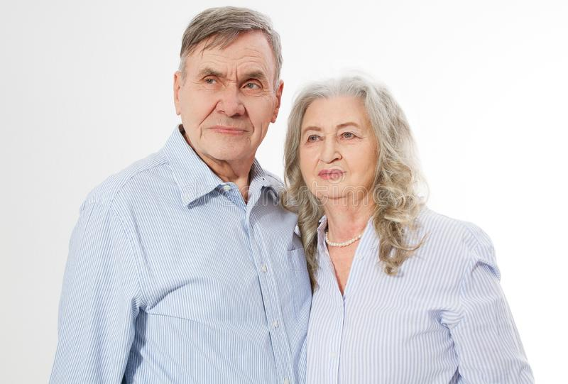 Happy senior family couple isolated on white background. Close up portrait woman and man with wrinkled face. Elderly grandparents stock photos