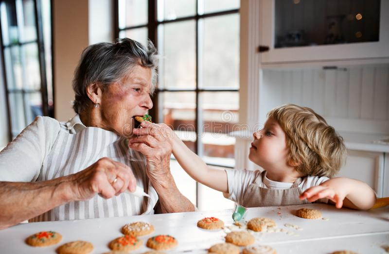Senior grandmother with small toddler boy making and eating cakes at home. Happy senior great grandmother with small toddler boy making and eating cakes at home royalty free stock image