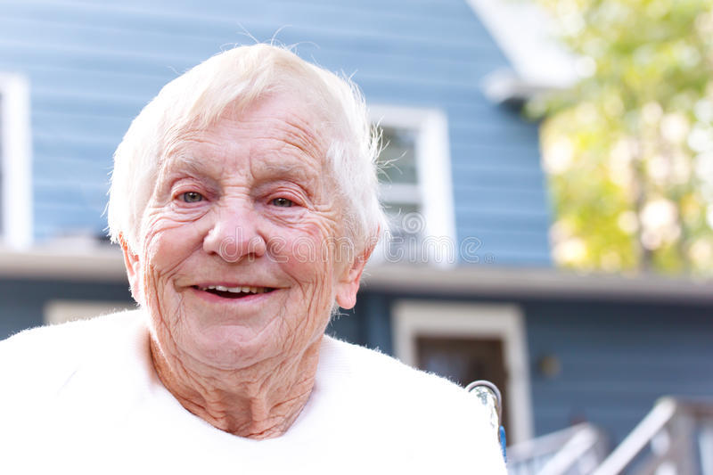Download Happy senior lady stock image. Image of outside, face - 21917497