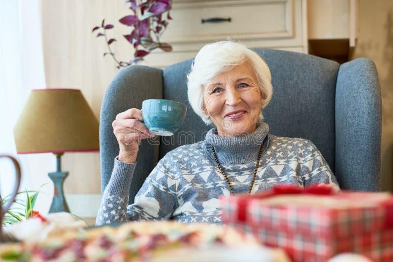 Happy Senior Lady Enjoying Christmas Dinner royalty free stock image