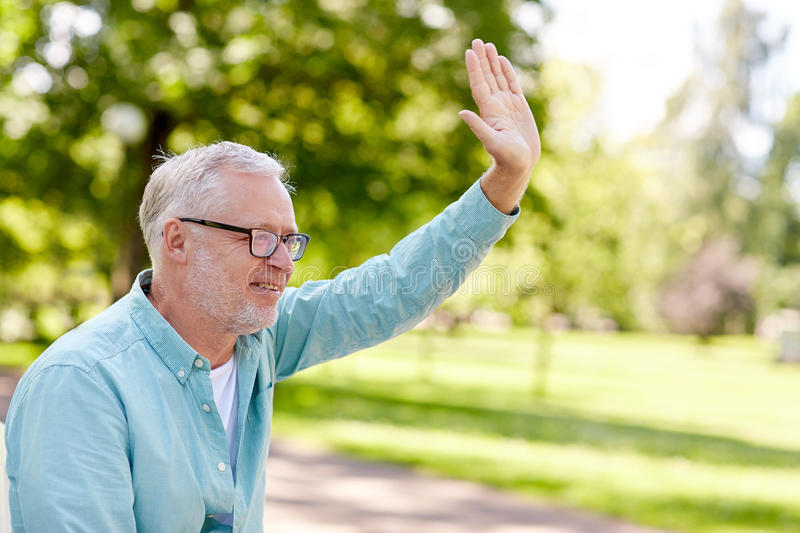 Happy senior man waving hand at summer park stock image
