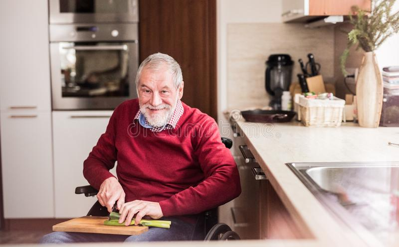 Senior man in wheelchair cooking in the kitchen. royalty free stock photo
