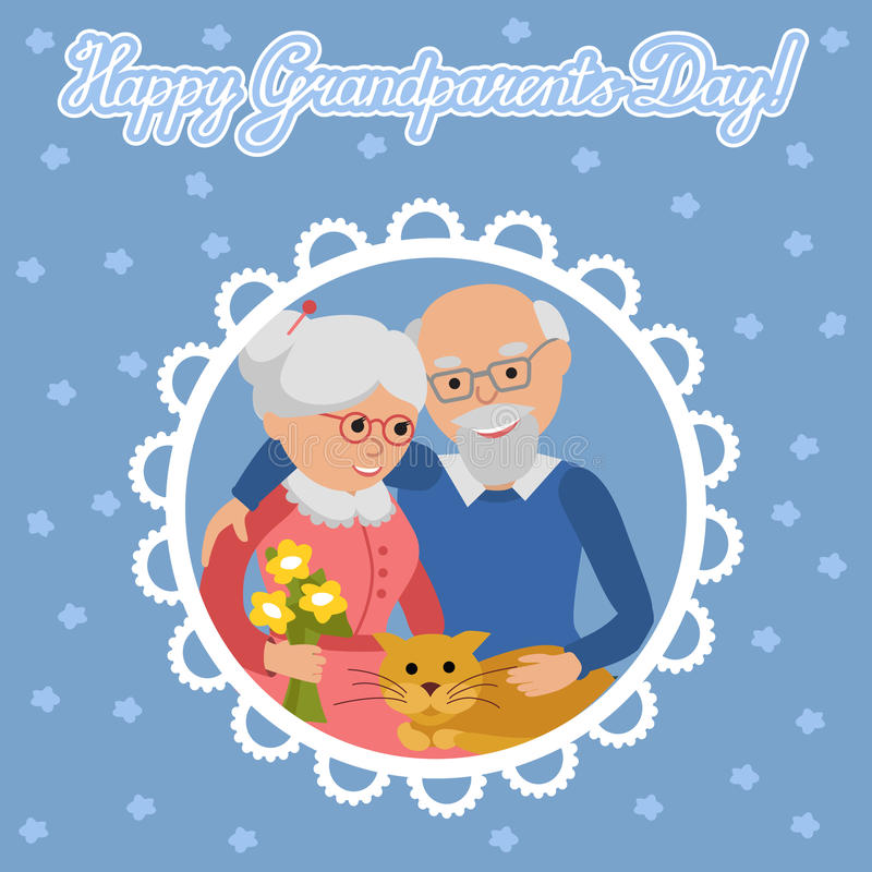 Happy senior man woman family with cat. Greeting card for grandparents day. Greeting card for grandparents day. Senior people illustration stock illustration