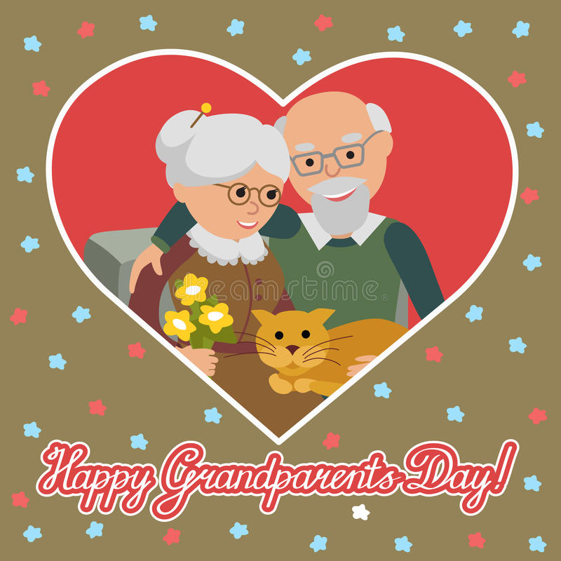 Happy senior man woman family with cat. Greeting card for grandparents day. Greeting card for grandparents day. Vector illustration in heart isolated white stock illustration