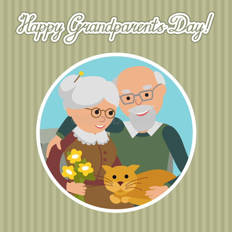Happy senior man woman family with cat. Vector illustration. Greeting card for grandparents day. vector illustration